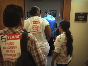 South LA residents visit the offices of Mayor Eric Garcetti and CD9 Councilmember Curren Price to demand an extension to the comment period for the Reef development.