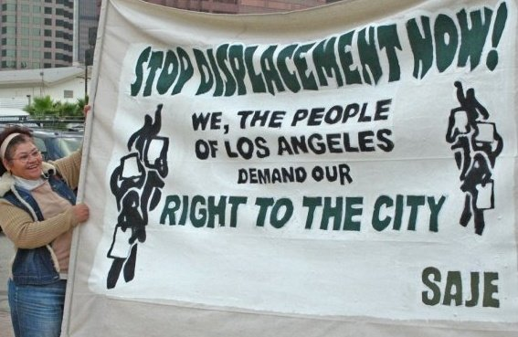 Gloria demands an end to displacement and a right to the city now!
